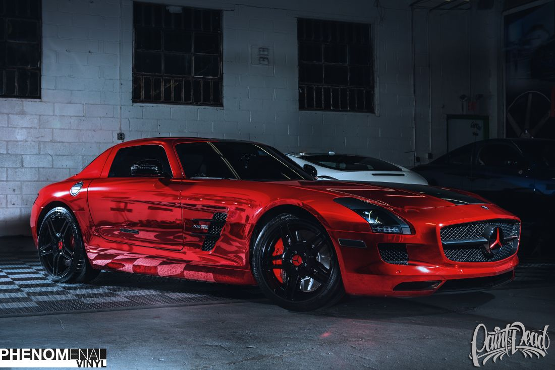 2012 mercedes sls in hexis chrome red