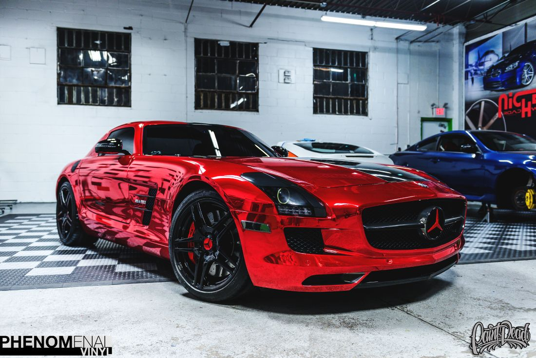 2012 Mercedes Sls In Hexis Chrome Red Phenomenalvinyl