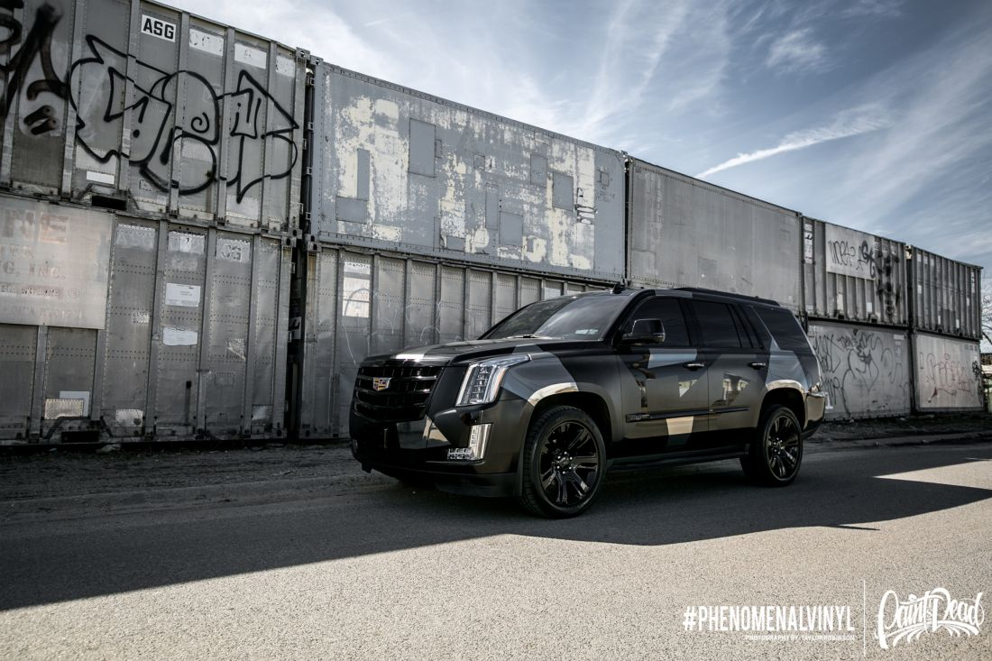 2015 Cadillac Escalade In Custom Black Camo Phenomenalvinyl