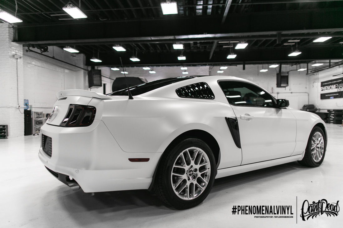 2014 Satin White Pearl Ford Mustang Wrapped By Phenomenal